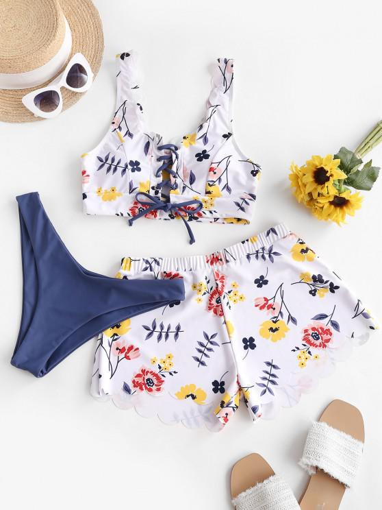 ZAFUL Floral Lace-up Scalloped Three Piece Swimsuit - متعددة-A M
