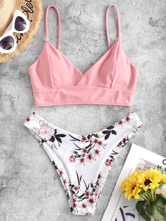 ZAFUL Lace Up Back Floral High Cut Bikini Swimsuit - ارتفع S