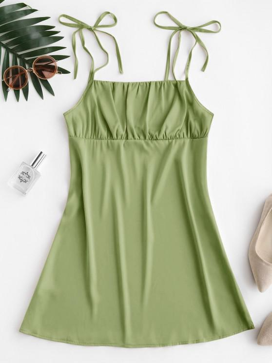 shops Silky Ruched Front Tie Shoulder Mini Dress - AVOCADO GREEN L