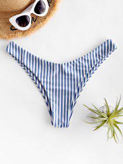 ZAFUL Striped High Cut Bikini Bottom - Silk Blue M