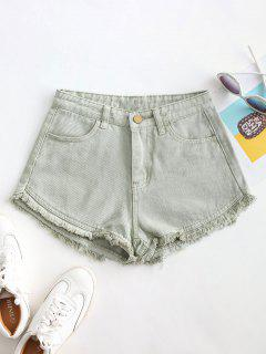 Pockets Frayed Hem Denim Cutoff Shorts - Dark Sea Green Xl