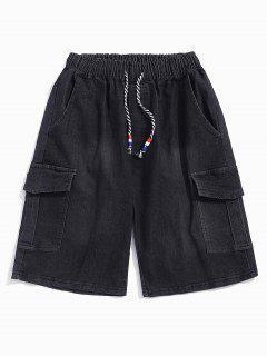 Flap Pockets Drawstring Cargo Jean Shorts - Black L
