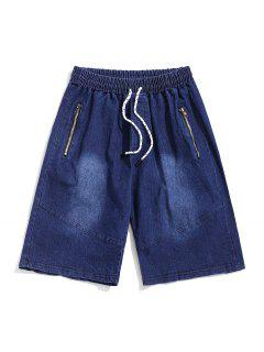 Zipper Solid Drawstring Jean Shorts - Denim Dark Blue 2xl