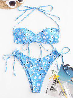 ZAFUL Bikini Convertible De Estampado De Flor - Azul Claro S