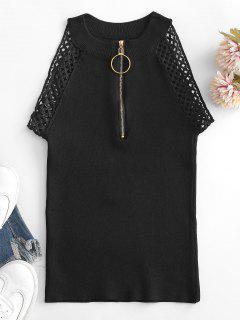 Knitted Half Zip Crochet Lace Trim Top - Black