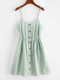 ZAFUL Smocked Mock Button Cami Pocket Dress - Blue Hosta Xl
