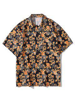 Baroque Flower Leopard Letter Print Pocket Shirt - Orange Gold 2xl