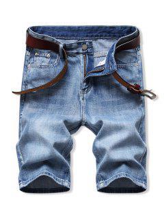 Solid Color Zip Fly Denim Shorts - Denim Blue 34