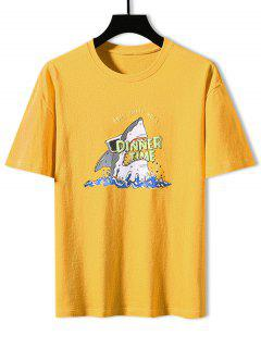 Camiseta Básica Con Estampado De Tiburón - Amarillo 3xl