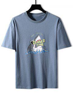 Shark Dinner Time Graphic Basic T-shirt - Mist Blue 3xl