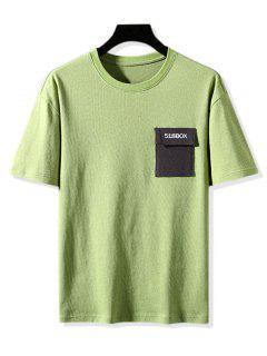 Colorblock Pocket Graphic Print Basic T-shirt - Green 3xl