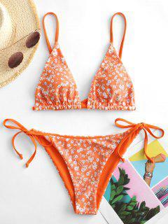 ZAFUL Bikini Reversible Con Estampado De Flor - Naranja De Calabaza  S