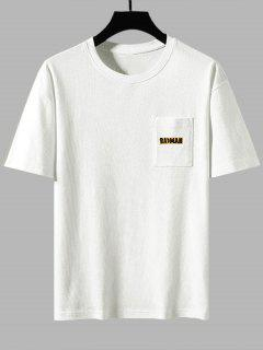 Badman Cartoon Print Pocket Patch Basic T-shirt - White 3xl