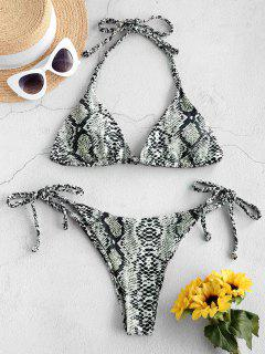 ZAFUL Snake Print Braided String Bikini Set - Light Khaki S