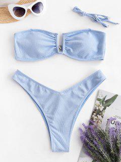 ZAFUL Textured U-bar Bandeau Bikini Swimwear - Day Sky Blue S