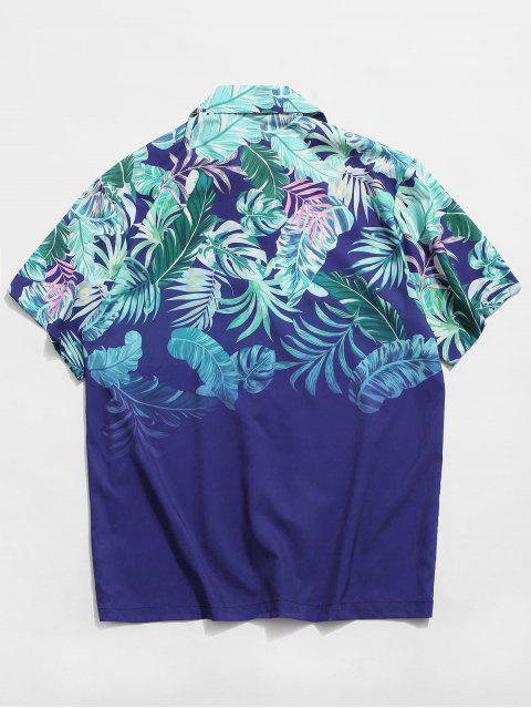 lady Tropical Leaf Print Button Vacation Shirt - BLUE S Mobile