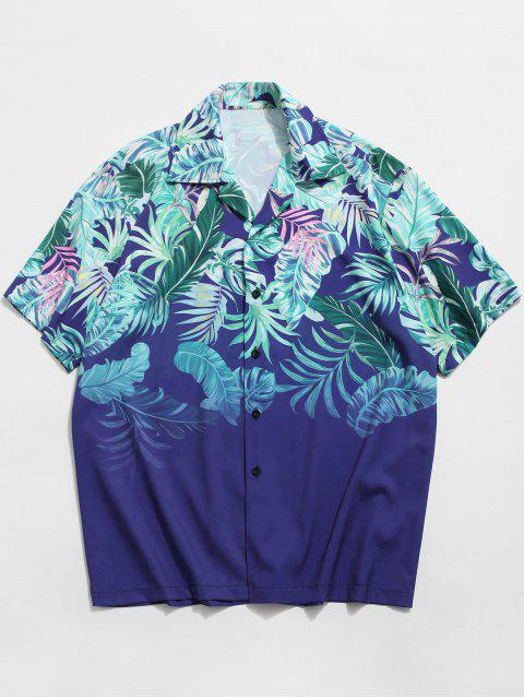 new Tropical Leaf Print Button Vacation Shirt - BLUE XL Mobile