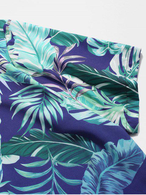 Camisa de Botón de Estampado de Hoja Tropical - Azul 2XL Mobile