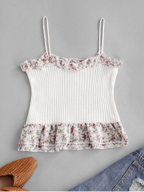 Top Cami de Chiffon Floral Cortado - Branco Um Tamanho Mobile
