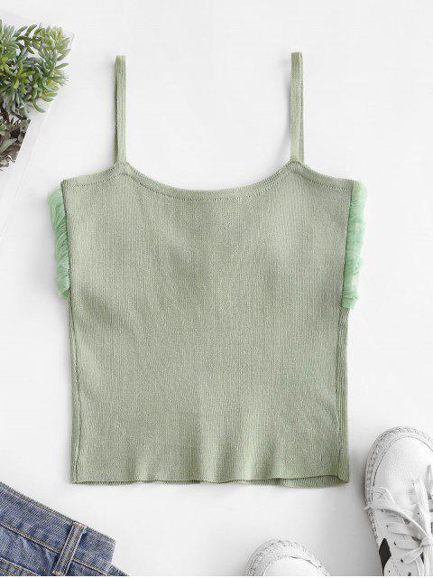 Top Cami de Malha com Painel de Malha - Luz verde Um Tamanho Mobile