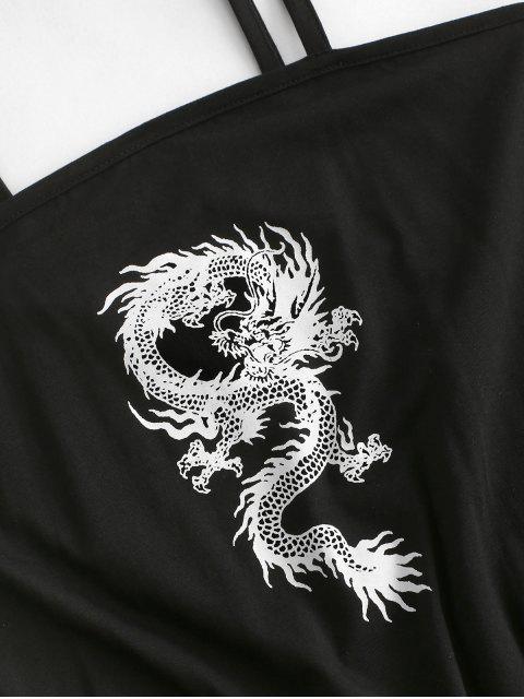 Mini Robe Camisole Graphique DragonOriental - Noir XL Mobile