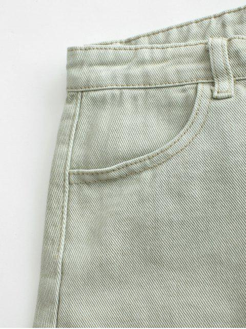 online Pockets Frayed Hem Denim Cutoff Shorts - DARK SEA GREEN L Mobile