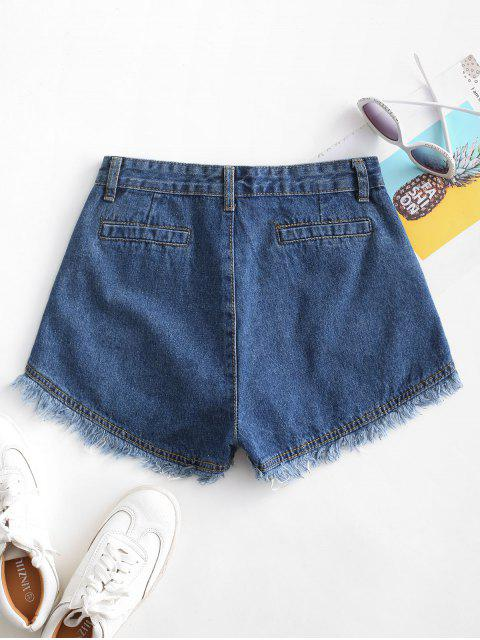 outfits Pockets Frayed Hem Denim Cutoff Shorts - DEEP BLUE M Mobile
