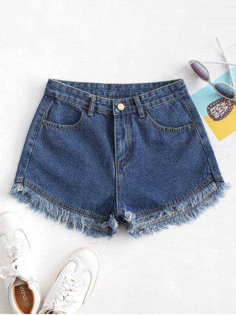 womens Pockets Frayed Hem Denim Cutoff Shorts - DEEP BLUE L Mobile