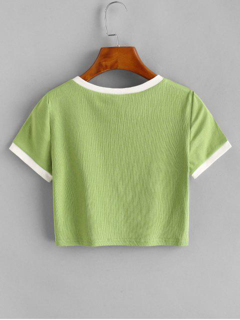outfit Contrast Graphic Crop Top - GREEN ONE SIZE Mobile