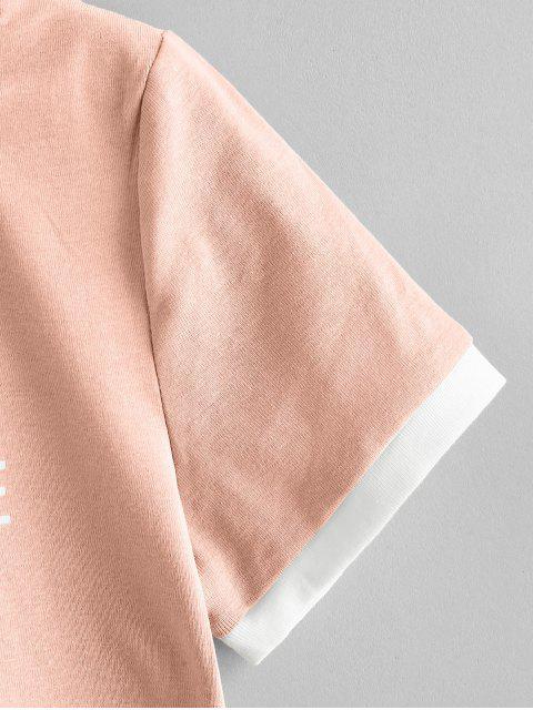 Crop Top com Contraste Cortado - Rosa Um Tamanho Mobile