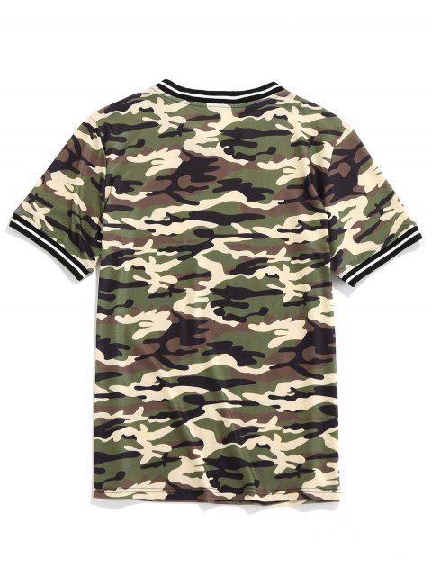 ZAFUL Camiseta de Manga Corta con Estampado de Camuflaje - Camuflaje de Bosque 2XL Mobile