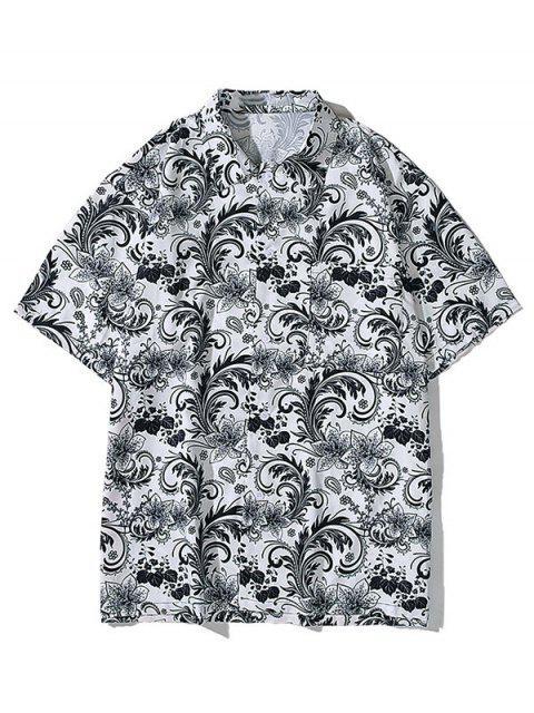 online Flower Allover Print Pocket Button Shirt - BATTLESHIP GRAY 2XL Mobile