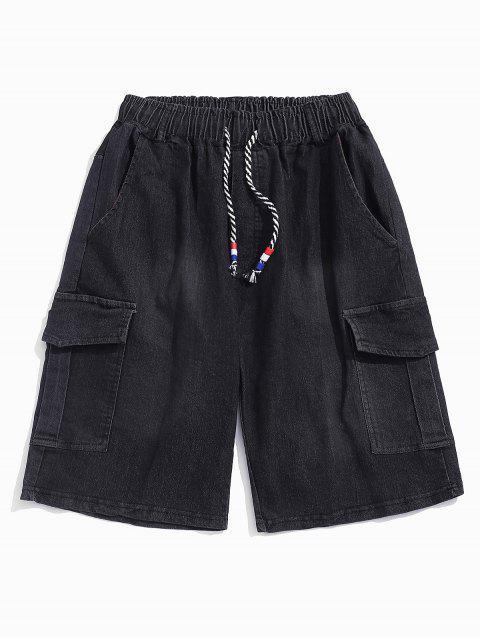 buy Flap Pockets Drawstring Cargo Jean Shorts - BLACK L Mobile