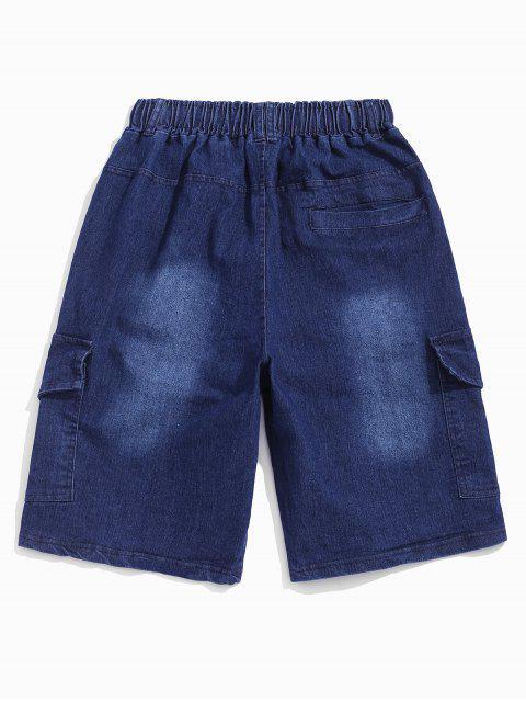 new Flap Pockets Drawstring Cargo Jean Shorts - DENIM DARK BLUE 3XL Mobile
