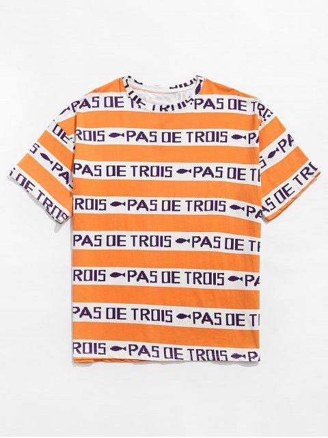 Maglietta con Maniche Corte e Motivo Grafico a Lettera a Contrasto - Arancio XL Mobile