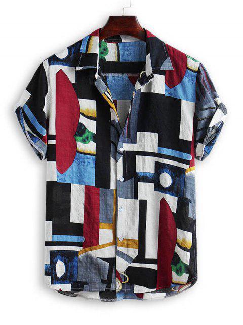 affordable Geometric Spliced Print Button Down Shirt - MULTI-A 3XL Mobile