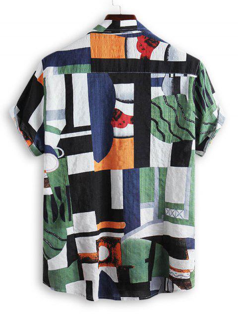 Geometric Spliced Print Button Down Shirt - متعددة-B 3XL Mobile
