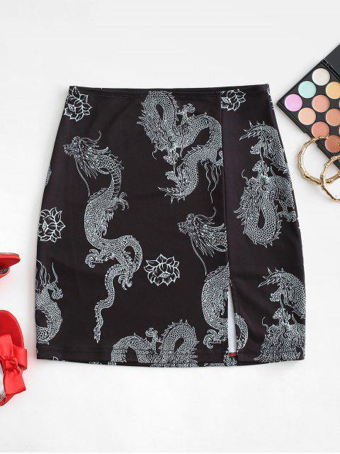 fancy Grunge Oriental Dragon Print Slit Short Skirt - BLACK S Mobile