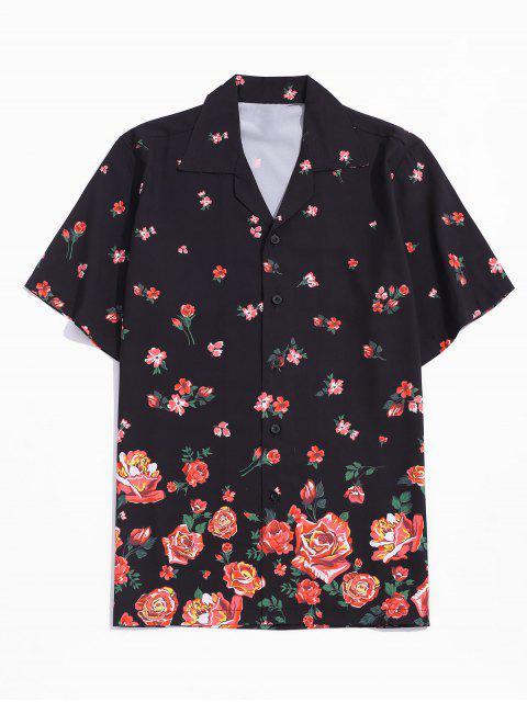 Chemise de Vacances Fleur Imprimée avec Bouton - Noir XL Mobile