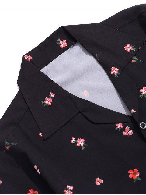 womens Flower Print Button Vacation Shirt - BLACK 2XL Mobile