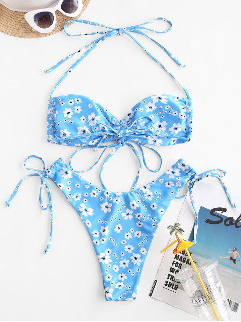 affordable ZAFUL Ditsy Print Cinched Convertible Bikini Swimwear - LIGHT BLUE M Mobile