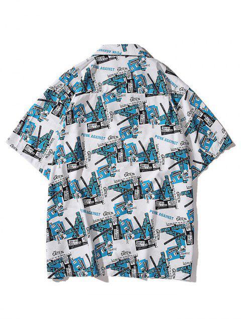 sale Short Sleeve Graphic Print Pocket Shirt - DODGER BLUE L Mobile