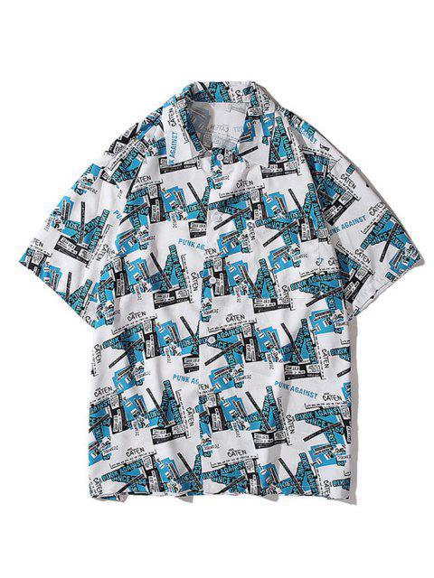 Camisa de Manga Curta de Impressão Gráfica com Colar Redondo - Trapaceiro Azul 2XL Mobile