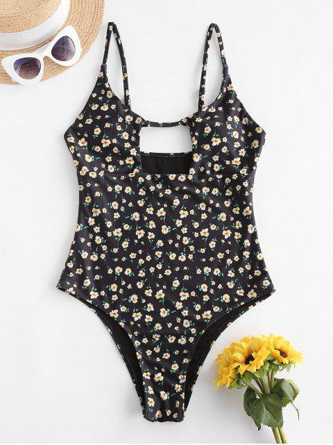 fashion ZAFUL Ditsy Print Cutout Backless One-piece Swimsuit - BLACK M Mobile