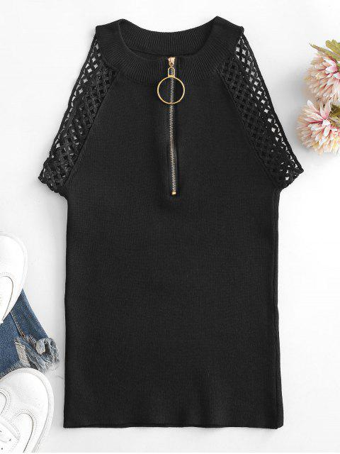 chic Knitted Half Zip Crochet Lace Trim Top - BLACK ONE SIZE Mobile