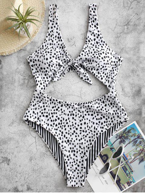 unique ZAFUL Dalmatians Stripes Reversible Tie Front Cut Out Swimsuit - WHITE S Mobile
