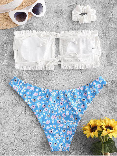 best ZAFUL Ribbed Flower Ruched Bandeau Bikini Swimwear with Scrunchie - WHITE S Mobile