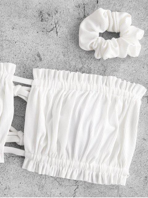 ZAFUL Costume da Bagno Bikini a Fascia a Costine con Stampa di Fiori di Zaful - Bianca M Mobile