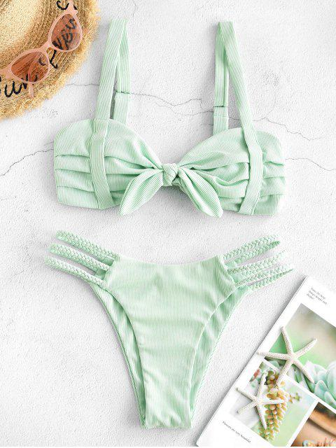 online ZAFUL Ribbed Ruched Tied Ladder Cut Braided Straps Bikini Swimwear - MINT GREEN S Mobile