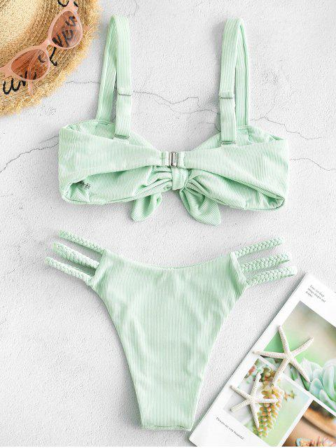 hot ZAFUL Ribbed Ruched Tied Ladder Cut Braided Straps Bikini Swimwear - MINT GREEN L Mobile